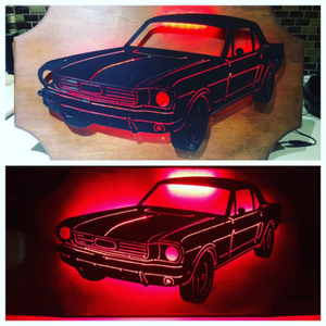 1966 Ford Mustang Metal Sign with or without LED Backlighting - Woodpost Metalworks