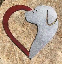 "Load image into Gallery viewer, Metal 12"" Dog and Heart - Woodpost Metalworks"