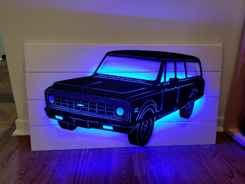 1972 Chevrolet Carryall Suburban Metal Sign With Or Without LEDs - Woodpost Metalworks