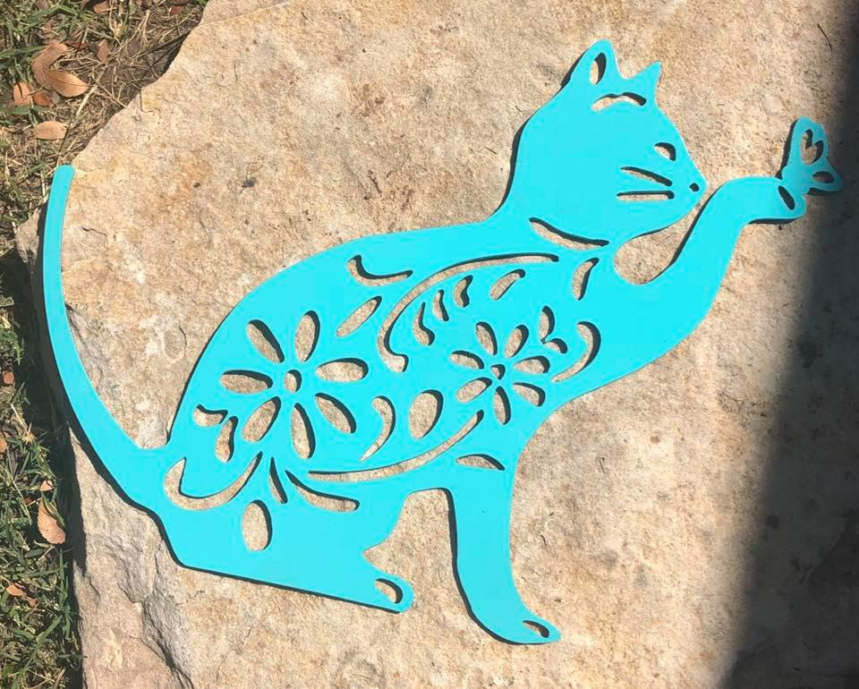 Art Deco Cat Garden Art - Woodpost Metalworks