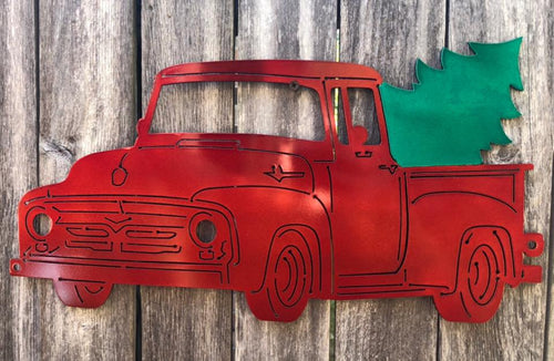 Red Truck with Christmas Tree - Woodpost Metalworks