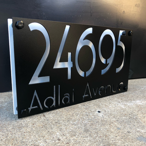 Two Layer Vintage Address Sign - Woodpost Metalworks