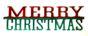"Merry Christmas 21"" Wide Red and Green - Woodpost Metalworks"