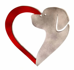 "Metal 12"" Dog and Heart - Woodpost Metalworks"