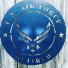 Load image into Gallery viewer, Retired Air Force Metal Sign - Woodpost Metalworks