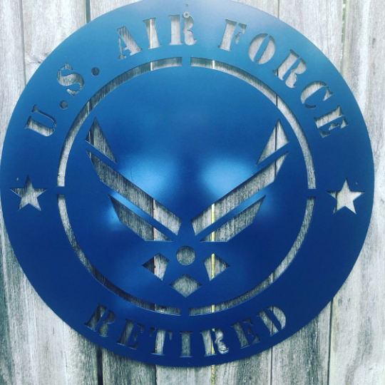 Retired Air Force Metal Sign - Woodpost Metalworks