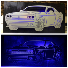 Load image into Gallery viewer, Dodge Challenger Plasma Cut Metal Sign With Or Without LEDs - Woodpost Metalworks