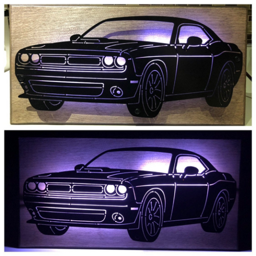 Dodge Challenger Plasma Cut Metal Sign With Or Without LEDs