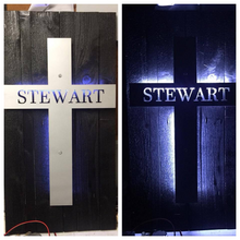 Load image into Gallery viewer, Metal Cross with Name or Scripture - Woodpost Metalworks