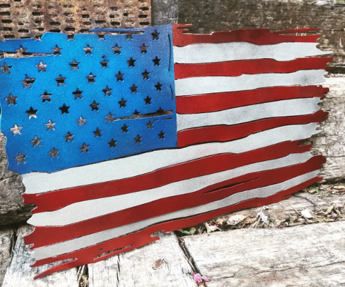 Tattered United States Metal Battle Flag - Woodpost Metalworks