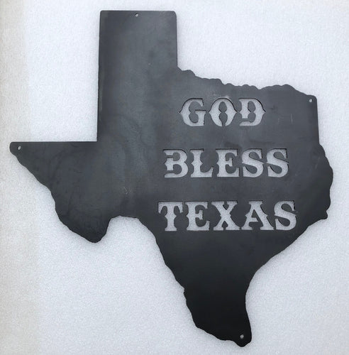 God Bless Texas Silhouette - Woodpost Metalworks