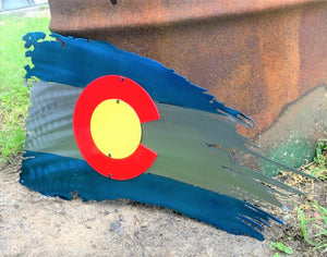 Metal Colorado Flag - Woodpost Metalworks