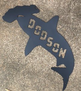 Hammerhead Shark with Name - Woodpost Metalworks