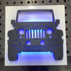 Front Facing Jeep Metal Sign with or without LED Backlighting
