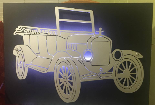 Ford Model T Metal Sign With or Without LED Backlighting - Woodpost Metalworks