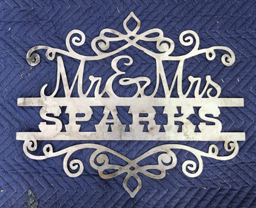 Mr. and Mrs. Custom Name Sign - Woodpost Metalworks