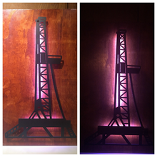 Load image into Gallery viewer, Oil Rig Metal Sign With Or Without LEDs - Woodpost Metalworks