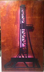 Oil Rig Metal Sign With Or Without LEDs - Woodpost Metalworks