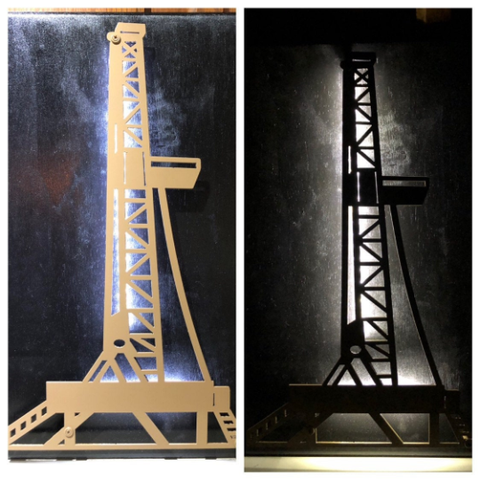 Oil Rig Metal Sign With Or Without LEDs