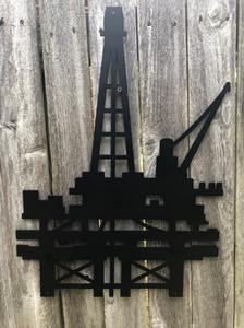 Offshore Oil Rig Metal Sign - Woodpost Metalworks