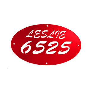 Oval Address Sign with Numbers and Your Last Name