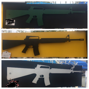 Metal Rifle Sign With Or Without LEDs - Woodpost Metalworks