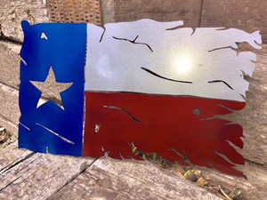 Metal Tattered Texas Flag - Woodpost Metalworks