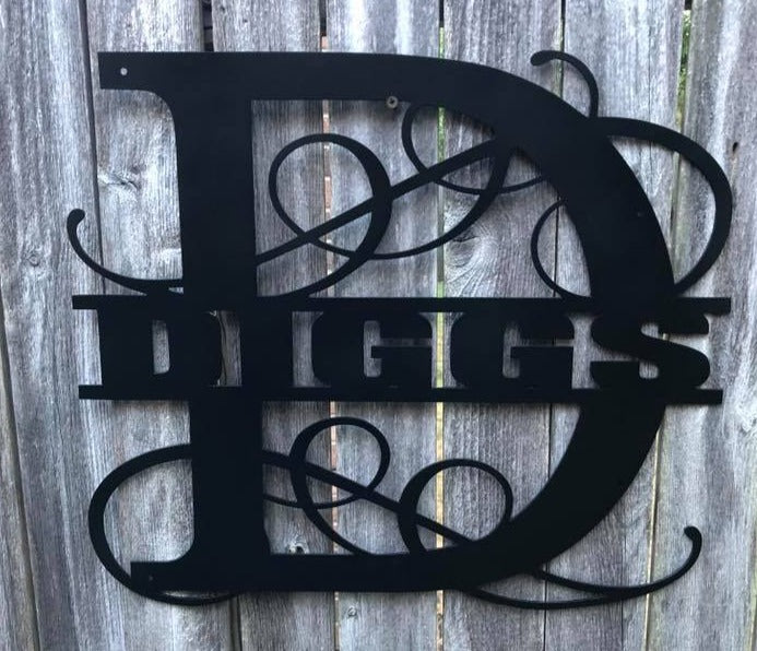 Vine Monogram Custom Name - Woodpost Metalworks