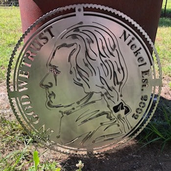 Nickel Custom Text Money Currency Sign - Woodpost Metalworks