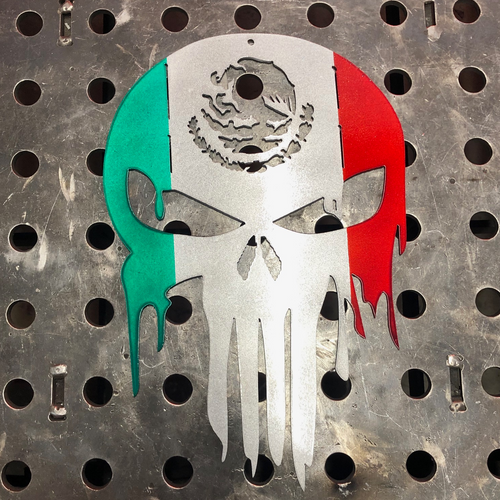 Punisher Skull With Mexican Flag - Woodpost Metalworks