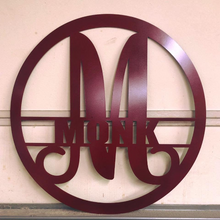 "Load image into Gallery viewer, Metal ""Modern"" Monogram Circled with Custom Last Name - Woodpost Metalworks"
