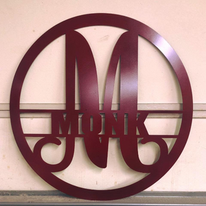 "Metal ""Modern"" Monogram Circled with Custom Last Name - Woodpost Metalworks"