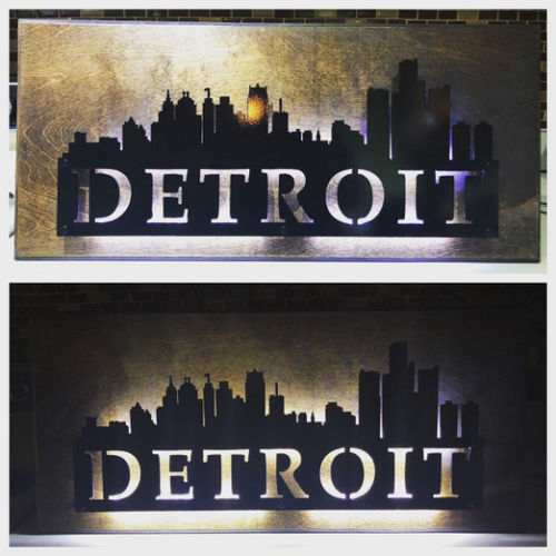 Detroit City Skyline - Woodpost Metalworks