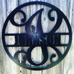 "Metal ""Fancy"" Circled Monogram with Custom Last Name - Woodpost Metalworks"