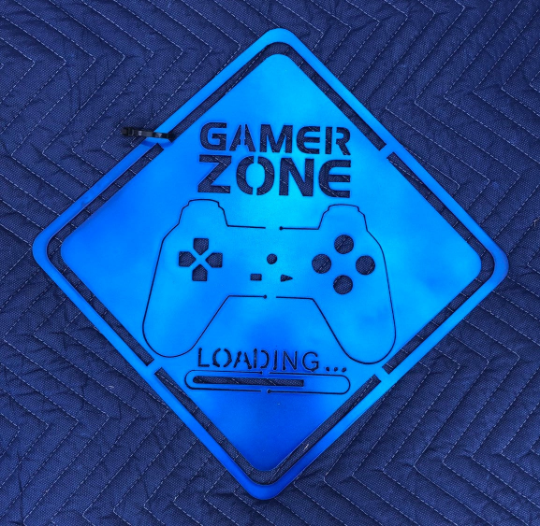 Metal Gamer Zone Sign - Woodpost Metalworks