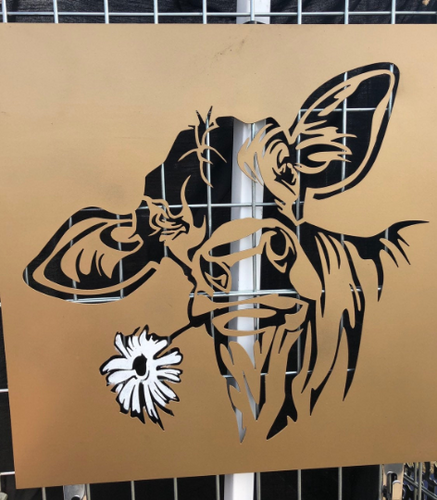 Happy Cow with Flower - Woodpost Metalworks