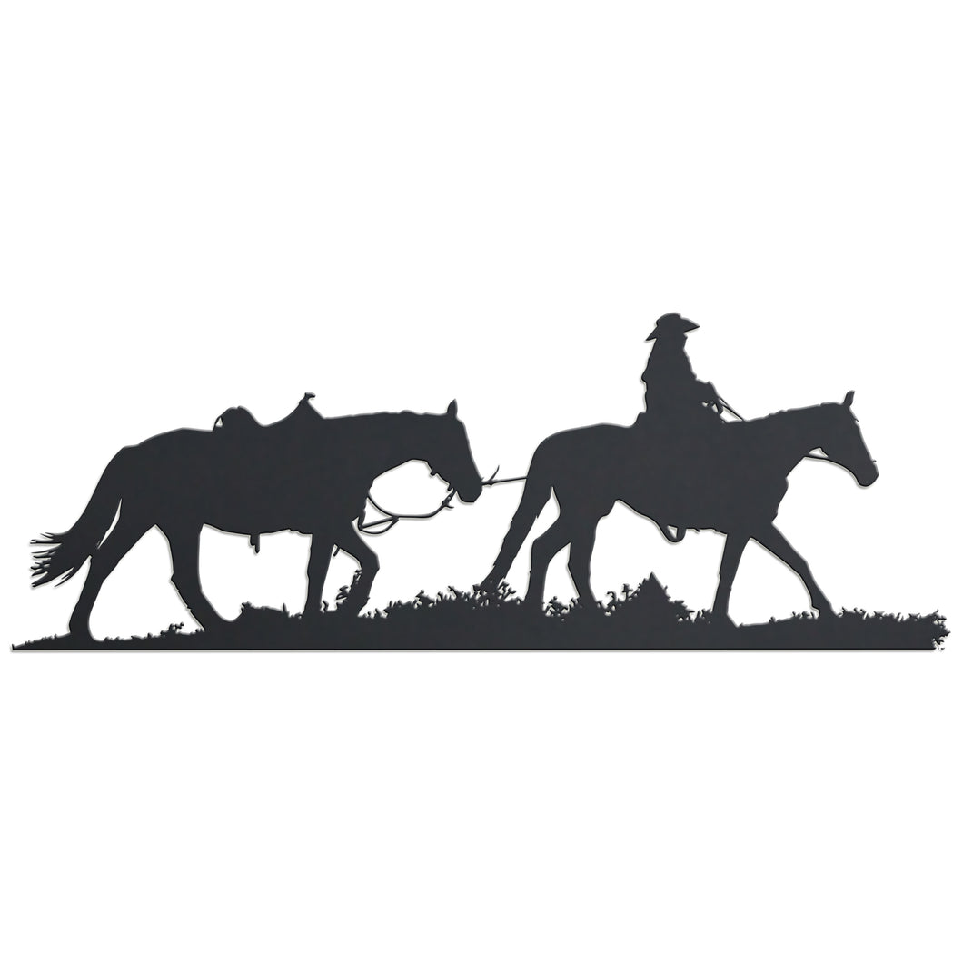 Metal Cowboy Leading Horse Hanging Sign