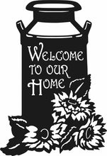 Load image into Gallery viewer, Welcome To Our Home Sunflower and Milk Can Rustic Metal Sign