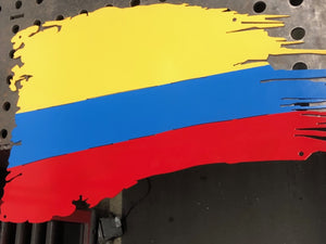 Tattered Colombian Flag - Woodpost Metalworks