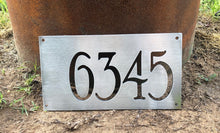 Load image into Gallery viewer, Brushed Aluminum Address Numbers Sign - Woodpost Metalworks