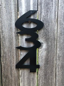 Funky Address Numbers Vertical Connected - Woodpost Metalworks