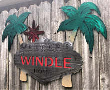 Load image into Gallery viewer, Custom Welcome Palm Tree Sign - Woodpost Metalworks