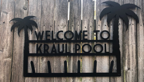 Welcome to the Pool Palm Tree Custom Name Towel Holder Personalized - Woodpost Metalworks