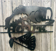 Load image into Gallery viewer, Bass Fish Custom Name - Woodpost Metalworks
