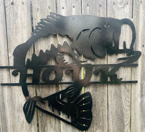 Bass Fish Custom Name - Woodpost Metalworks