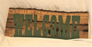 "Welcome Sign on Live Edge Wood 25"" Wide - Woodpost Metalworks"