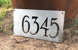 Brushed Aluminum Address Numbers Sign - Woodpost Metalworks