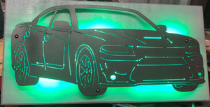 Dodge Charger Metal Sign With Or Without LEDs - Woodpost Metalworks