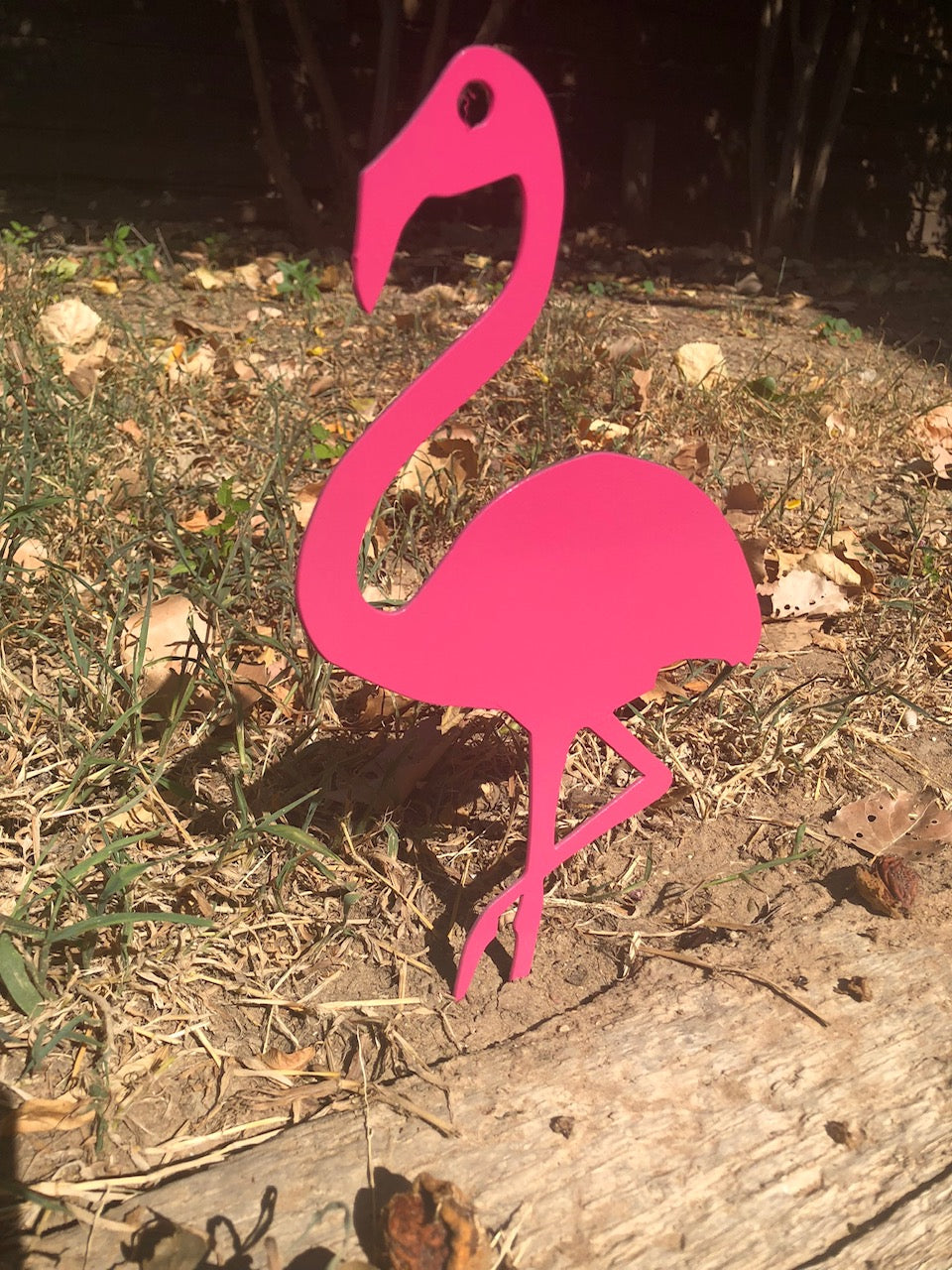 Pink Flamingo Yard Stake - Woodpost Metalworks
