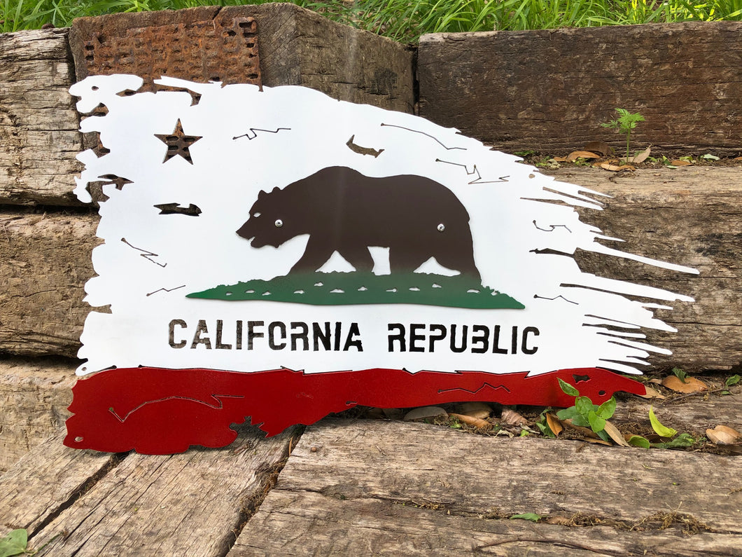 Tattered Californian Flag - Woodpost Metalworks